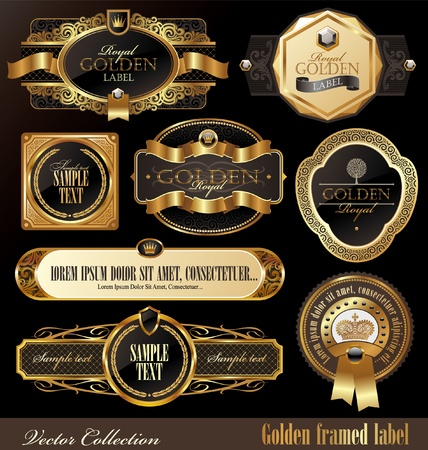 product packaging: Vector set of golden luxury ornate frames