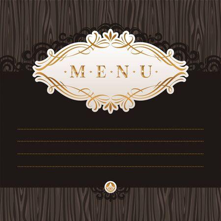 eleganz: Menü Vektor Vorlage mit Kalligraphie Rahmen auf Holz Textur Illustration