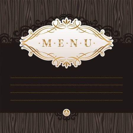 dingbats: Vector template menu with calligraphic frame on wooden texture