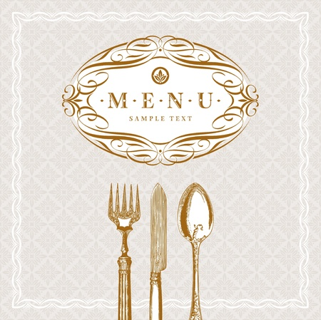 knife and fork: Vector template ornate  menu with vintage cutleries Illustration