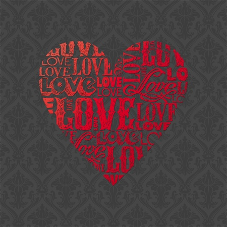 Vector Valentines card with heart Stock Vector - 9945816