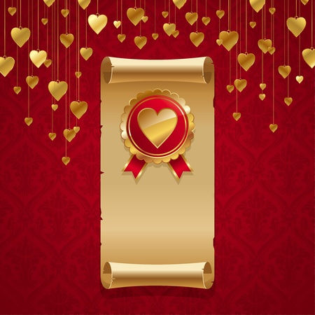 corazones: Vector valentines illustration with vintage scroll & golden badge with hearts