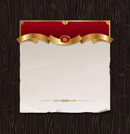 gold banner: Vector vintage golden frame with paper banner on a black wood backgraund