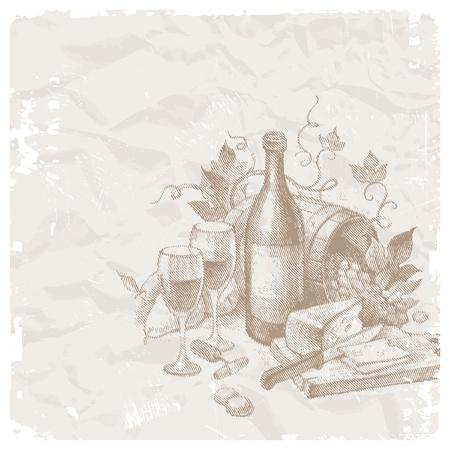 kaas: Vector vintage Stilleven met wijn en voedsel Stock Illustratie