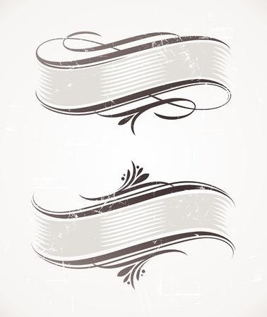scroll?: Vintage vector desplazamiento con elementos caligr�ficos