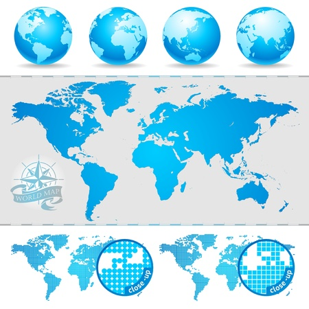 dotted world map: Vector world maps & globes