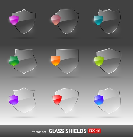 Vector set of glass heraldic shields Vector