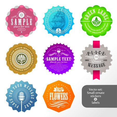 heading: Vector set of small labels and stickers