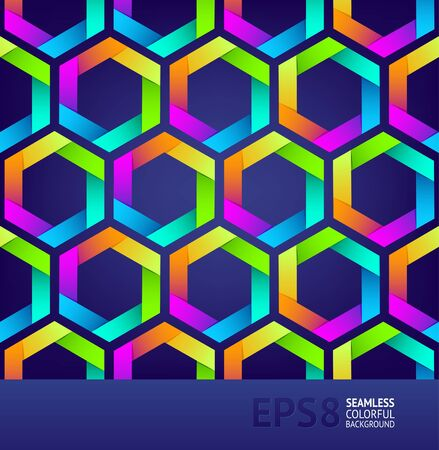 symmetrical design: Abstract seamless background with colorful hexagons Illustration