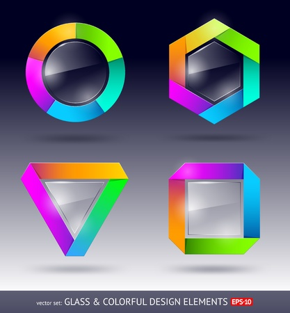 colorful and glass design element Vector