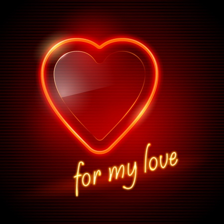 Neon red heart Stock Vector - 10298500