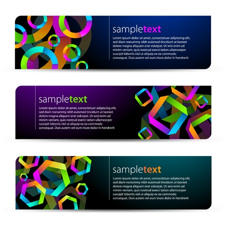 Abstract banners with colorful shapes Vector