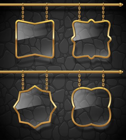 Glass signboards in golden frames hanging on chains against a stone wall . Vector