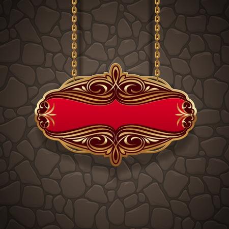 letreros: Ornamentada se�al vintage oro colgando de cadenas contra un muro de piedra Vectores