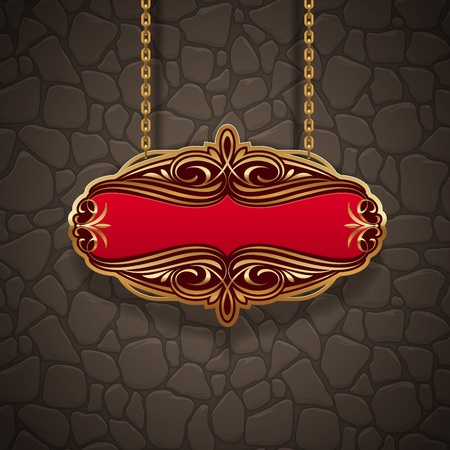 Ornate gold vintage signboard hanging on chains against a stone wall Vector