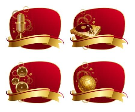 shinning: Marcos rojos con oro equipos musicales & amp, banner