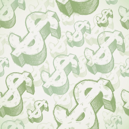 us dollar: Seamless background with hand drawn dollar signs