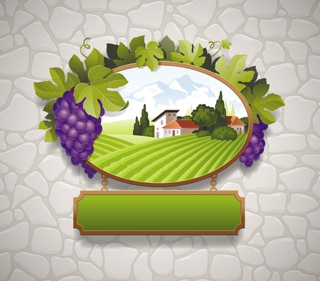 Vintage signboard with grapes and image of country landscape against a stone wall Vetores