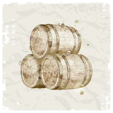 vat: Grunge hand drawn wooden barrels on vintage paper background - vector illustration Illustration