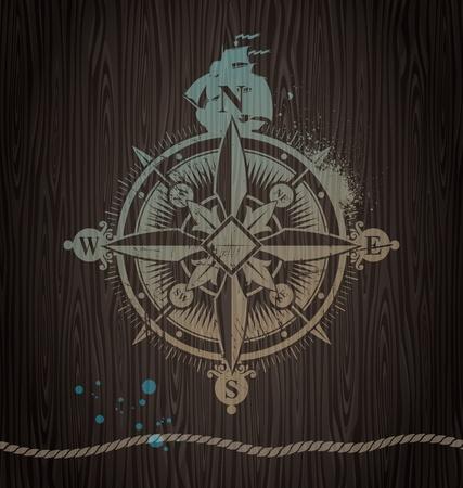 kompassrose: Vector Windrose Malerei auf einer Holzwand