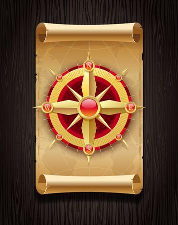Vector golden compass rose & vintage map on a dark wooden board Vector
