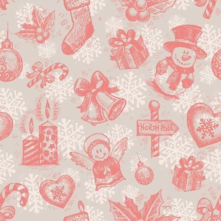 Vector seamless hand drawn Christmas background Vector