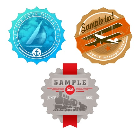 biplane: Vector vintage labels with retro transport - yacht, plane & steam locomotive Illustration
