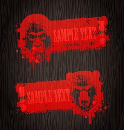gorila: Advertencia de banners de vector grunge con pintura de cabezas de animales con sangre en la pared de madera Vectores