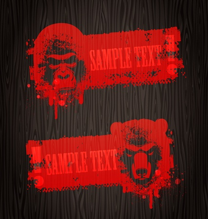 gorilla: Warning grunge vector banners with animal heads painting with blood on wooden wall