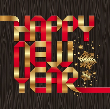 new years eve background: Christmas design with gold & red paper letters on a wooden background Illustration