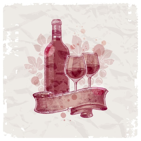Grunge hand drawn wine bottle & glasses on vintage paper background - vector illustration