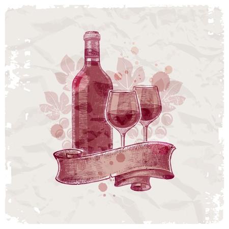 Main grunge dessiné la bouteille de vin & lunettes sur fond de papier vintage - illustration vectorielle