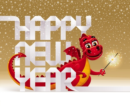 christmas dragon: Cute red dragon with a sparkler and greeting sign from paper letters - vector christmas illustration