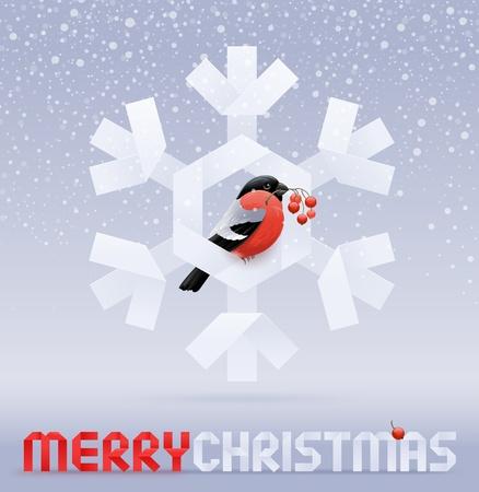 eberesche: Vector Christmas Illustration - ein Gimpel mit einem Rowan sitzen auf einem Papier-snowflake