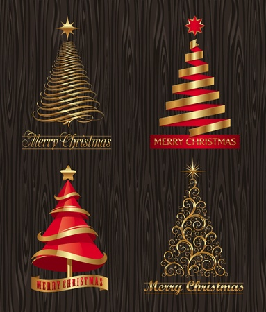 red trees: Vector set - golden decorative Christmas trees Illustration