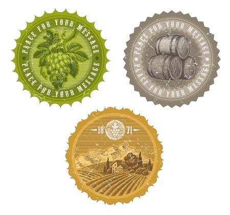 Etiquetas vintage vector con mano dibuja elementos - viticultura y enología