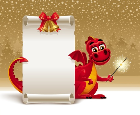 drago alato: Drago rosso con un sparkler e scorrere la carta per salutare - illustrazione natale Vettoriali