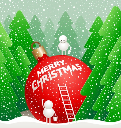 Christmas illustration - little cute snowmens write a  greeting on a giant bauble in the winter forest Vector