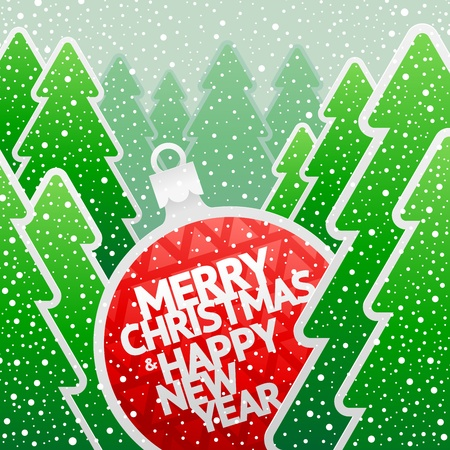 Christmas illustration - paper bauble with holidays greeting in the winter paper forest