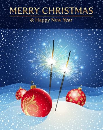 snowdrift:  holidays illustration - sparklers and Christmas baubles in snowdrift
