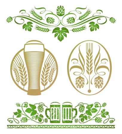 ječmen: Vector set - Dekorativní stylizované hop a pivo