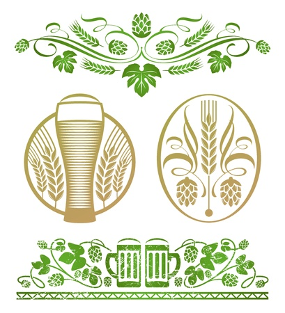 wheat illustration: Vector set - decorative hop stilizzato e birra Vettoriali