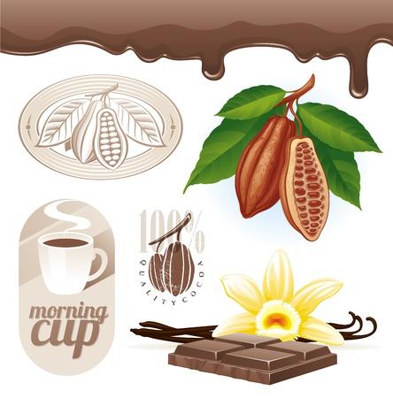 Conjunto de vectores - Los granos de cacao y chocolate Ilustración de vector