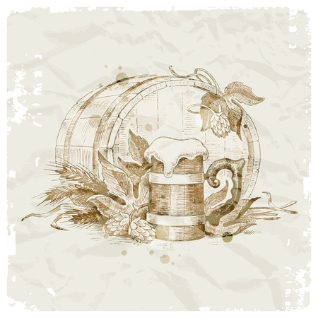 ale: Grunge vector illustration - hand drawn still life with hop, mug of beer and wheat