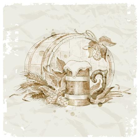 ječmen: Grunge vektorové ilustrace - ručně malovaná zátiší s hop, džbánek piva a pšenice
