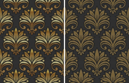 Golden seamless floral pattern - vector illustration Vector
