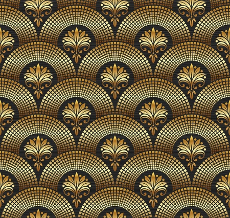 floral ornaments: Seamless ornate golden pattern