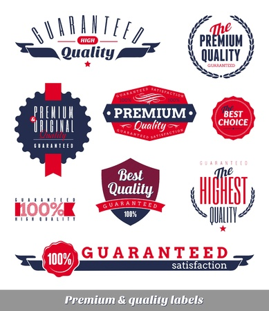 quality seal: Set of premium quality labels and emblems Illustration