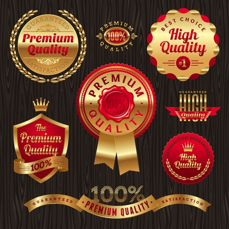 quality: Set of golden quality labels and emblems