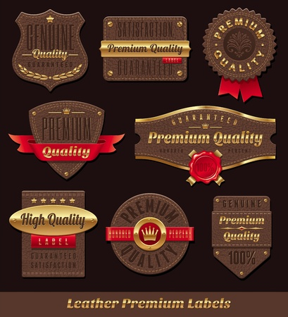 leather background: Set of leather gold premium and quality labels
